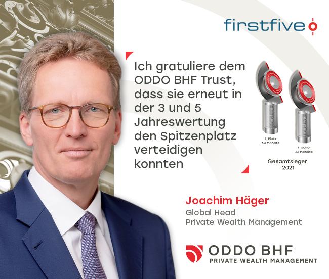 firstfive-Awards 2021: ODDO BHF TRUST gewinnt Königsdisziplin zum fünften Mal in Folge
