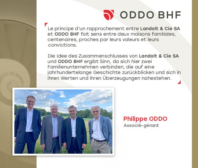Négociation exclusive en vue de rapprocher Landolt & Cie SA avec le groupe ODDO BHF